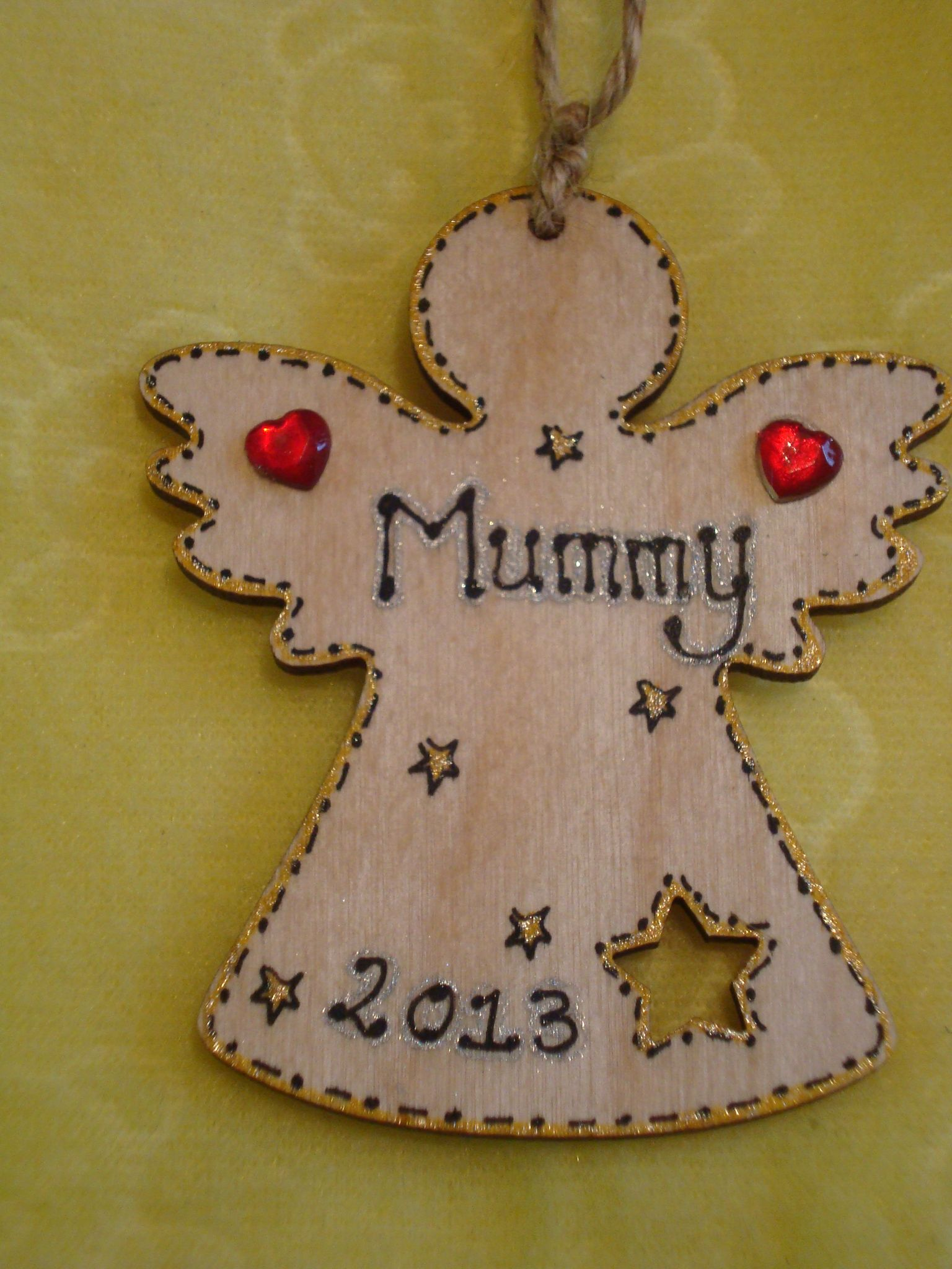 Wood christmas tree cutout - Wooden Personalised Angel Fairy Christmas Tree Hanger Decoration Star Cut Out Any Name Year